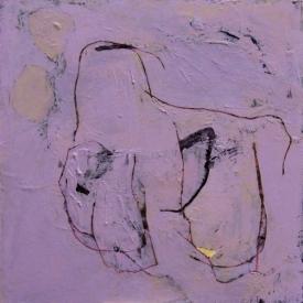 """Lavender Menace, Acrylic on panel, 12"""" x 12"""""""