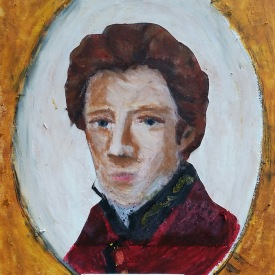 """Dr. James Barry, Mixed media on board, 4"""" x 5"""""""
