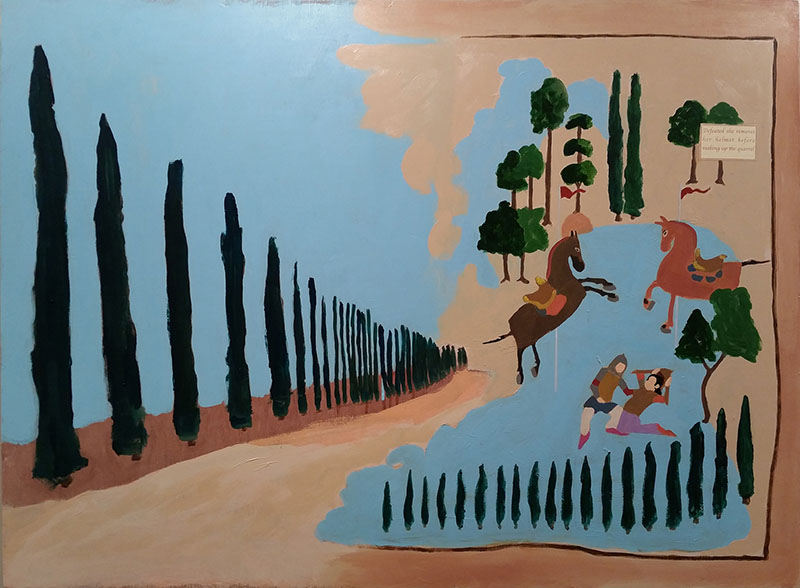 """The Oak and the Cypress, Acrylic and paper on panel, 36"""" x 48"""""""