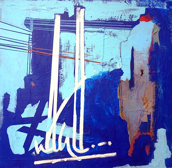 """Tangier Overture, Acrylic and mixed media on panel, 24"""" x 24"""""""