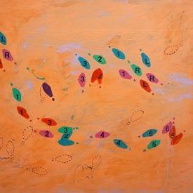 """Hesitation Change: Waltz, Acrylic on panel, 48"""" x 36"""""""