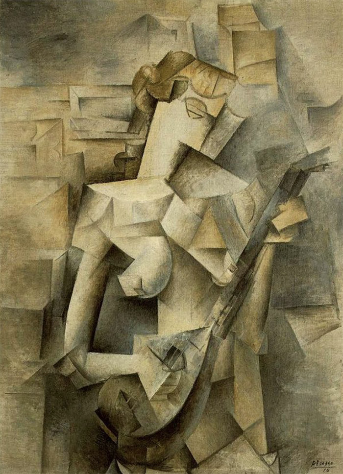 Nude, angular, Cubist-style woman, with mask-like face, collaged together from multiple viewpoints, plays mandolin