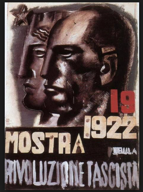 Fascist propaganda poster depicting hard, expressionless men in profile