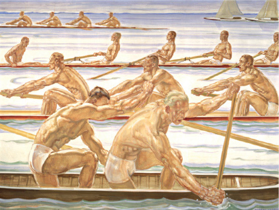 Overly muscled men row crew in four perfect rows
