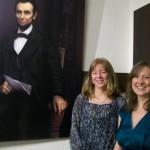 Artist Sue Brehant with her Abe