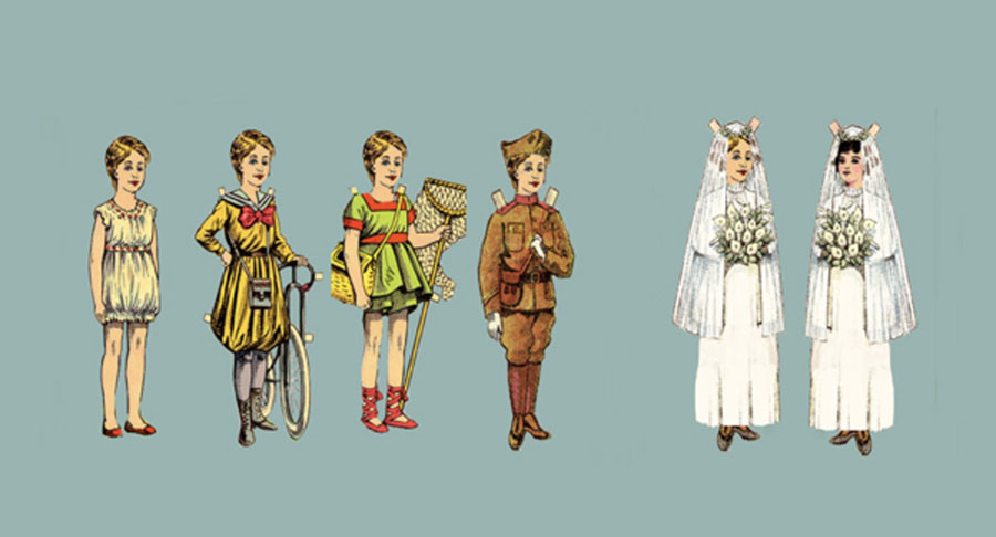 Row of paper doll cutouts: girls playing sports and in uniform, ending with two girls facing each other in wedding dresses