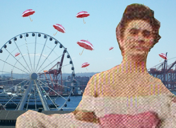 whimsical collage of Seattle waterfront with Ferris wheel, floating umbrellas, and antique photo of woman
