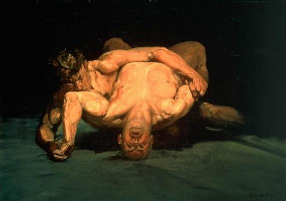 """George Luks, """"The Wrestlers"""", 1905"""