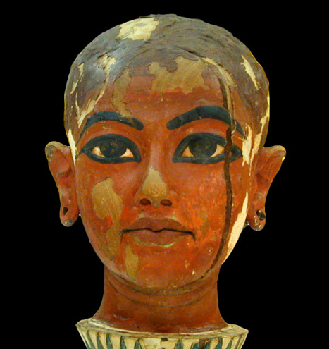 Colored head of King Tut gazes into distance.