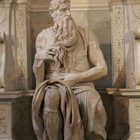 Moses, from the tomb built for Pope Julius II by Michelangelo, commissioned 1505, completed in 1545.