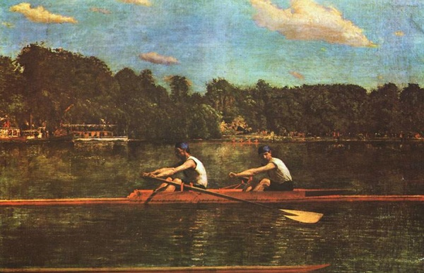 Thomas Eakins painting, The Biglin Brothers Racing, with two men rowing on river