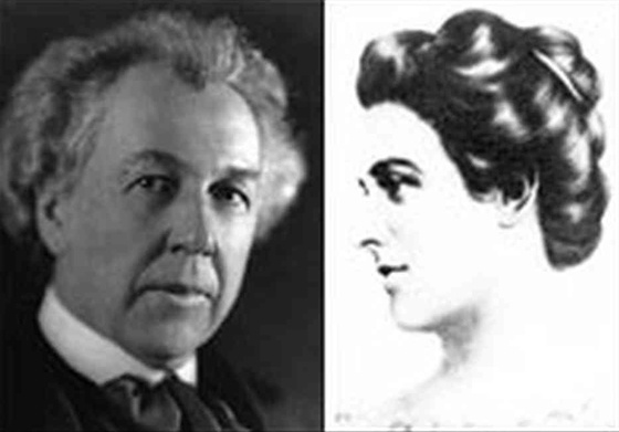 side by side black and white photos of Frank Lloyd Wright and his mother