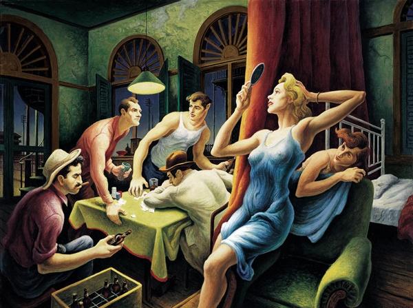 Thomas Hart Benton painting - Poker Night