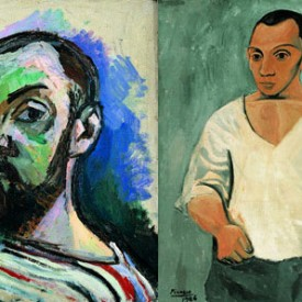 Matisse and Picasso self-portraits, both 1916