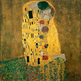 Gustav Klimt, The Kiss (Lovers), 1908-1909, oil and gold leaf