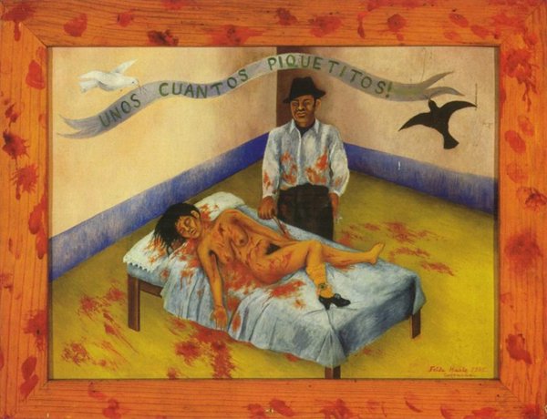 Frida Kahlo painting of woman in bed with bloody sheets and floor, while man looks on