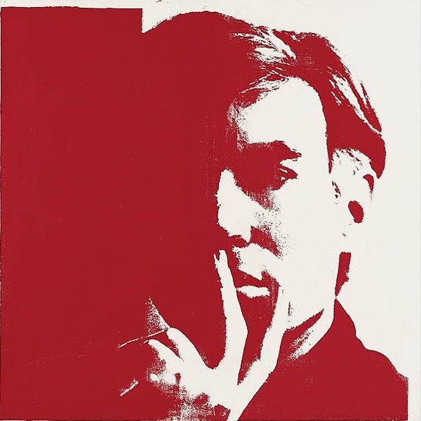 Graphic and shadowy portrait of Andy Warhol with hand to mouth