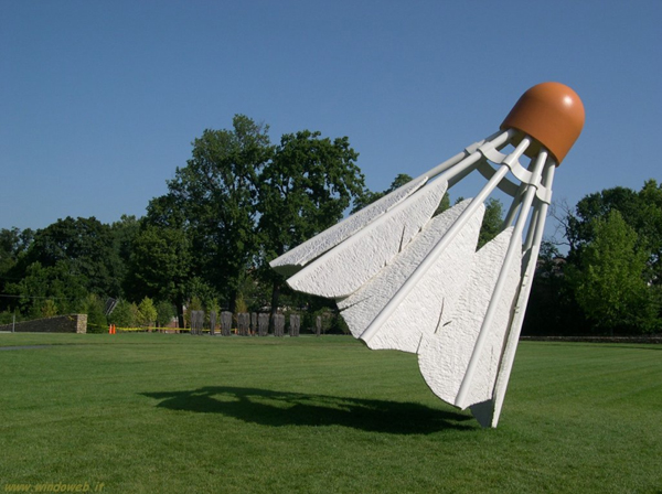"photo of large outdoor sculpture - a giant ""birdie"" for badminton"