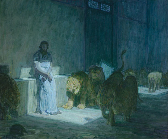Man in toga, surrounded by lions, sits on stone slab in a patch of sunlight in a large room with no other sign of comfort.