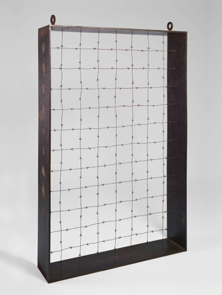 Barnett Newman, Lace Curtain for Mayor Daley, mixed media sculpture with barbed wire, 1968
