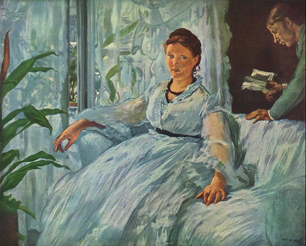 Edouard Manet, The Reading, 1865 - 1873. Léon Koëlla, Madame Manet's (and likely Edouard's) son, reads to her.
