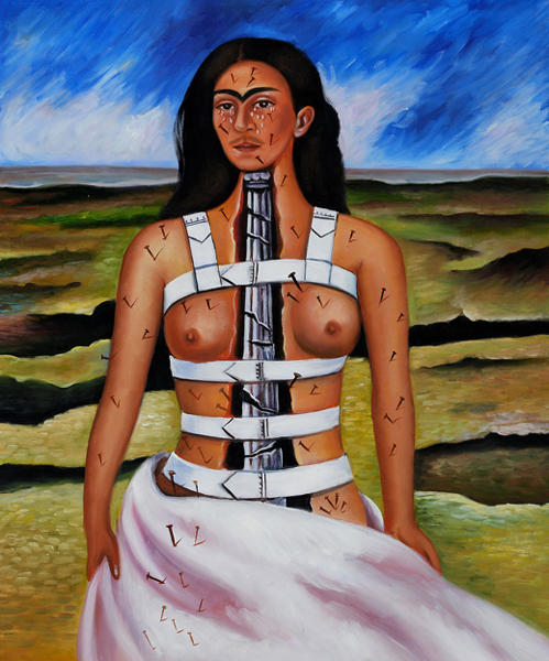 Frida Kahlo self portrait with back brace and architectural column as spine.