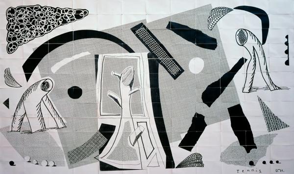David Hockney, Tennis, 144 faxes, 1989.