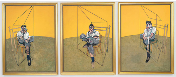 Three similar paintings depict a man nearly enclosed by a transparent structure, which is situated within a larger empty room.
