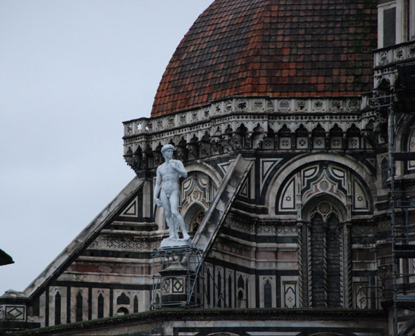 Fiberglass replica of David, installed on roof of Duomo in Florence.