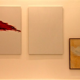Cy Twombly, Three Dialogues (Phaedrus), 1977. The vandalized panel was the white one.