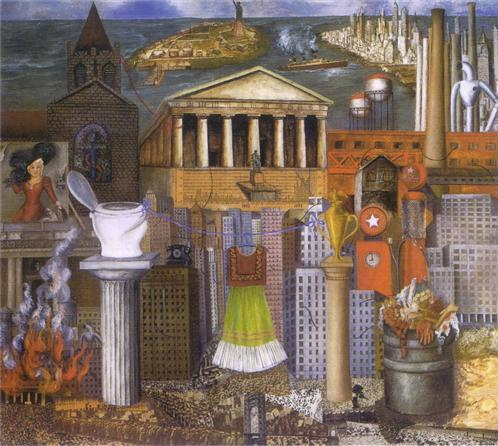NYC landscape and architecture depicted from different viewpoints, including absurdist details like a large toilet on top of a column, with female figure, body parts in trash can and a dress on a hanger
