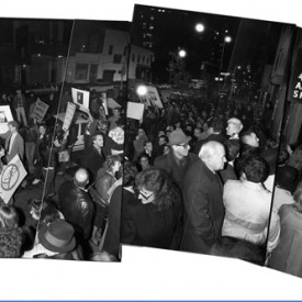 The scene outside Artists Space gallery, including protesters, at the opening of Witnesses: Against Our Vanishing, November 16, 1989.