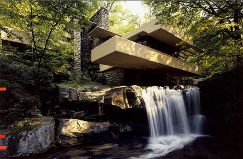 "Frank Lloyd Wright's Fallingwater, 1935, Bear Creek, PA. Voted ""Building of the Century"" in 2000 by the American Institute of Architects."
