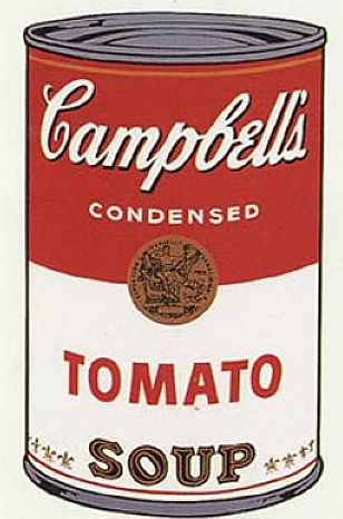 Campbell's soup can, realistically reproduced as graphic art.