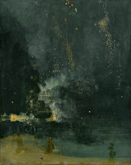 Fireworks appear as dots of light and haze in dark, smoky background.