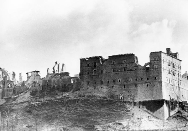 Monte Cassino, destroyed by Allied bombs in February 1944.