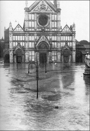 The Basilica of Santa Croce is flooded on November 4, 1966.