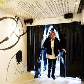 Emma Thompson enters one of the trailers containing Journey, the art installation she produced about sex trafficking.