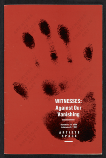 Cover of catalog for exhibition, portraying weak-looking handprint.