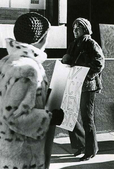 Artists Ann Arien and Lucy Lippard protest outside the Whitney Museum, 1970