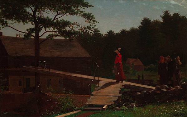 Woman in large bonnet and fashionable outfit walks on elevated pathway of wooden planks as she heads to work at the mill.