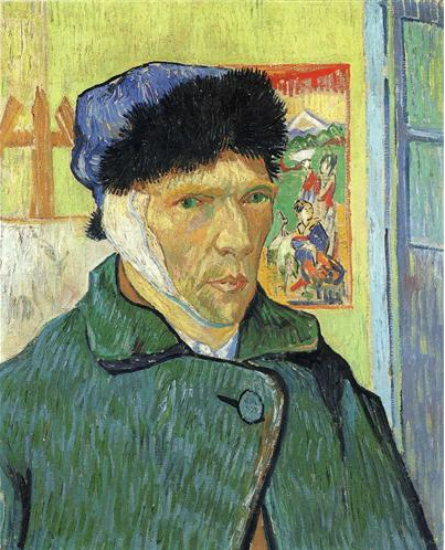Somber Van Gogh, in winter hat and coat with bandage that covers ear and reaches under chin.