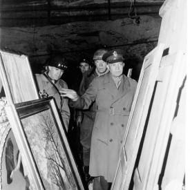General Eisenhower surveying looted artwork.