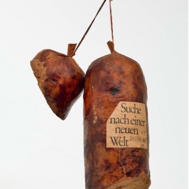 Dieter Roth, Literaturwurst (Literature Sausage), 1969, Ground pages of Halbzeit by Martin Walser, gelatin, lard, spices, in natural casing