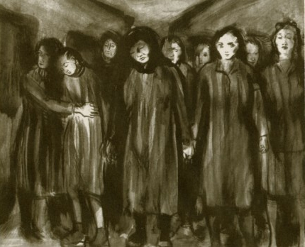 Sorrowful group of women, dressed similarly, standing close together; some hold hands.