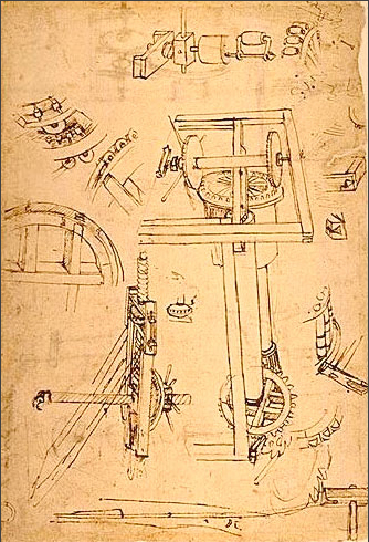 Filippo Brunelleschi, plans for lifting construction materials for Duomo, c. 1418