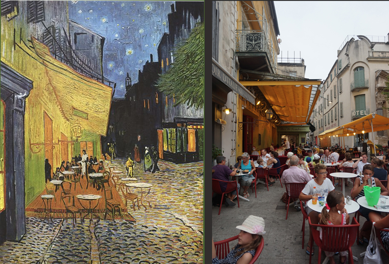 Side-by-side images of Van Gogh painting and real-life cafe that inspired it.