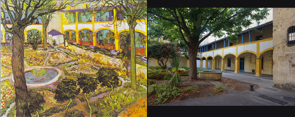 Side-by-side images of Van Gogh painting and real-life hospital that inspired it.