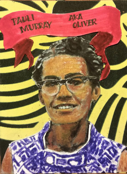 "Smiling Pauli Murray, with short hair and glasses, patterned jersey and banner encircling head, with birth name and nickname of ""Oliver""."