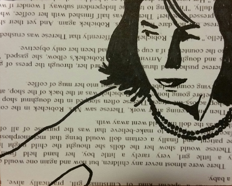 Stylized drawing of confident woman looking off to side, drawn over book text